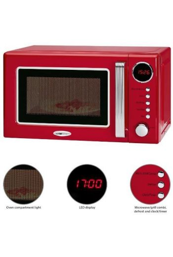 Clatronic MWG790R punainen retro mikroaaltouuni 20L