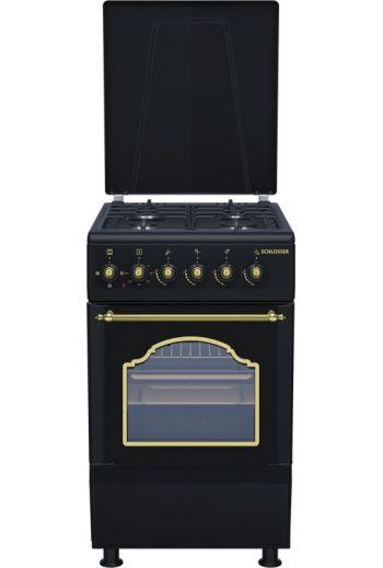 Schlosser FS5403MAZD retro kaasuliesi sähkö-uunilla 50cm, musta